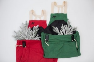 red and green Roo apron